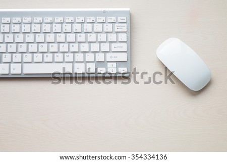 White keyboard on the desk