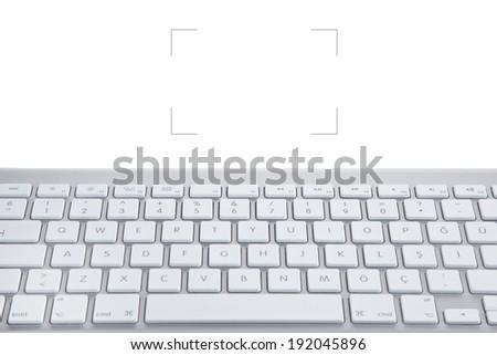 White keyboard on white background - stock photo
