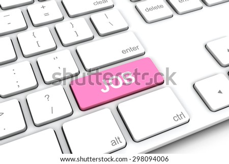 White keyboard with a pink button job.