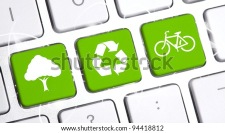 white keyboard with an eco option - stock photo