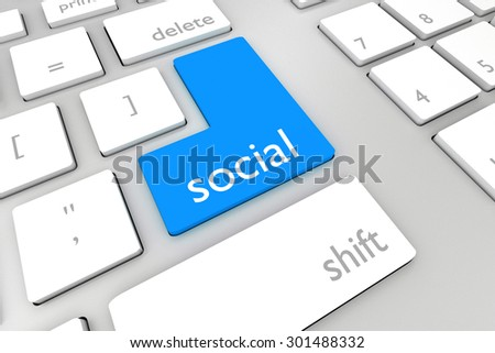 white keyboard with blue enter button social