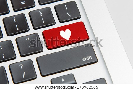 White keyboard with heart sign