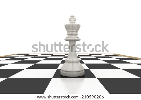 White king on chess board on white background