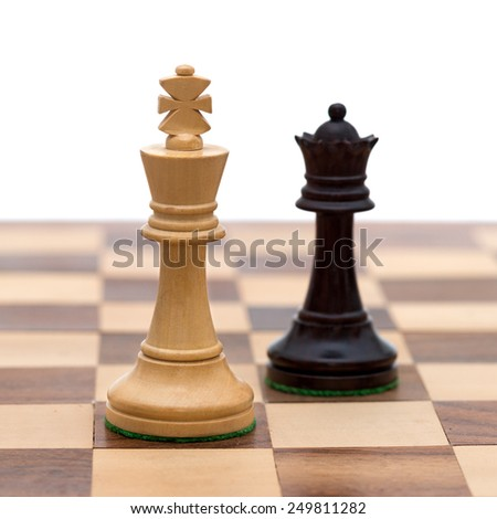 White king with black queen - stock photo