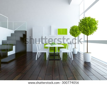 white kitchen in the large house - stock photo