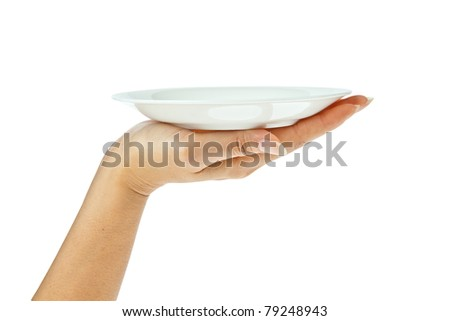 white kitchen plate on hand isolated on white background - stock photo