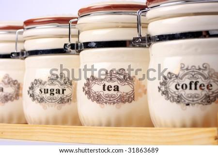 White Kitchen Pot Set - stock photo