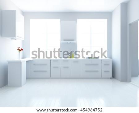 white kitchen room. kitchen interior. Scandinavian interior. 3d illustration - stock photo