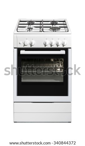 White kitchen stove isolated on white background with clipping path. - stock photo