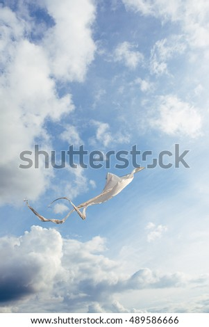 White kite flying against the blue sky full of clouds. Vertical image.