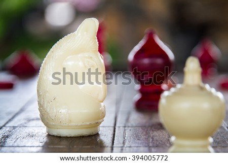White knight, thai chess. Ultimate Brain Games, selective focus - stock photo