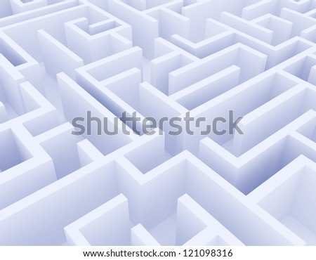 white labyrinth on white background - stock photo