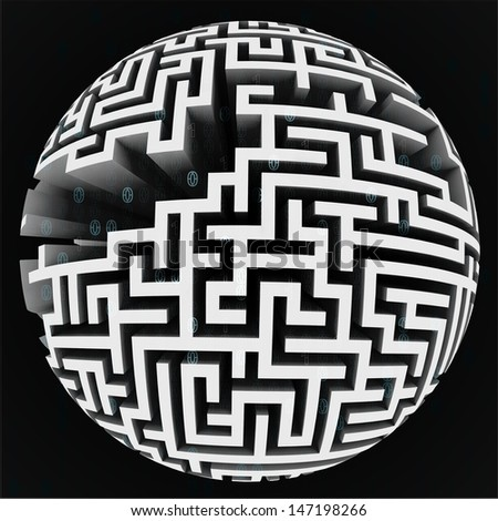 white labyrinth sphere structure on black illustration - stock photo