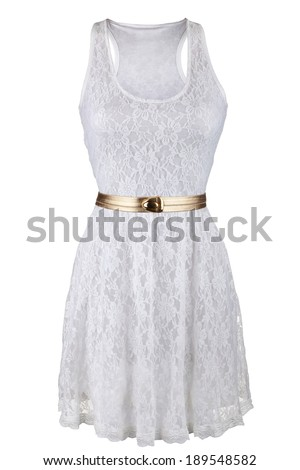 White lace dress with golden belt, isolated on white - stock photo