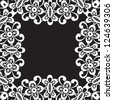 White lace frame isolated on black, monochrome background for design. Vector version available in my portfolio - stock photo