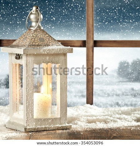 white lamp and window of frost  - stock photo