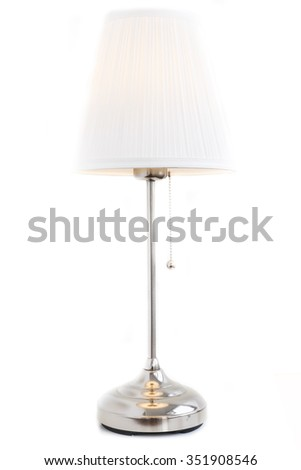 White lamp/Inox and white textile shade reading lamp isolated on white background with a string switch and the light bulb lighting. - stock photo