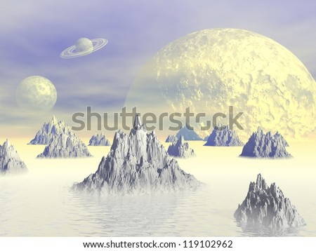 White landscape with rocky mountains, fog and planets - stock photo