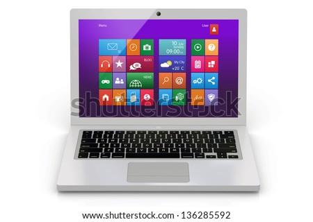 White laptop. Front - stock photo