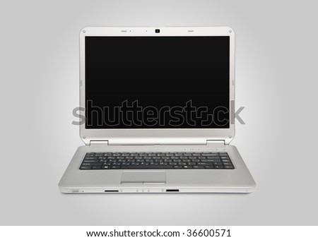 White laptop. Front view