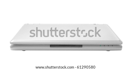 white laptop isolated on white - stock photo