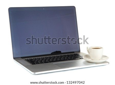 White laptop with cup of coffee isolated on white - stock photo