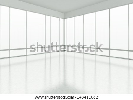 white large office space - stock photo