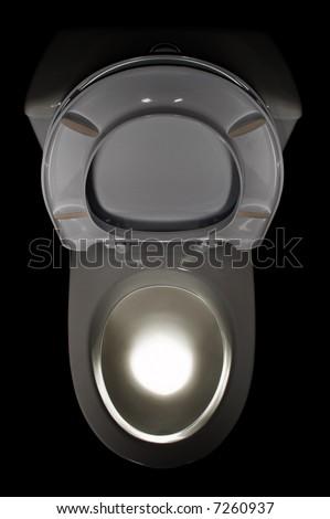 white lavatory pan isolated on black background - stock photo