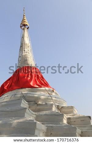 White Leaning Stupa is Land Mark of Island in Nonthaburi Thailand - stock photo