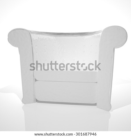 White leather chesterfield armchair, white background, 3d render, square image - stock photo