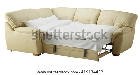 White leather corner couch bed isolated on white include clipping path - stock photo