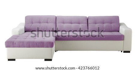 White leather corner sofa  isolated on white include clipping path - stock photo