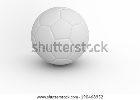White leather football with shadow on white background