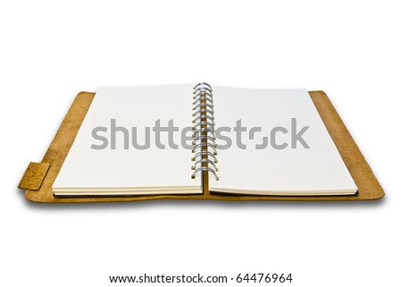 white leather notebook isolated - stock photo