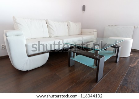White leather sofa in the living room