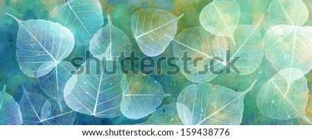 White leaves silhouettes on colorful background - stock photo