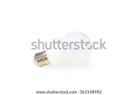 white LED light bulb isolated on white background with shadow - stock photo