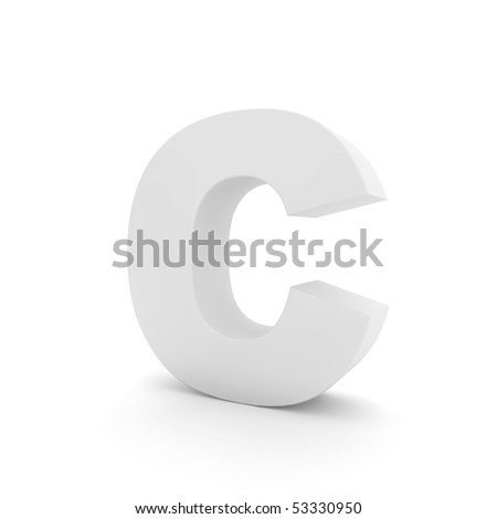 white letter C isolated on white - stock photo
