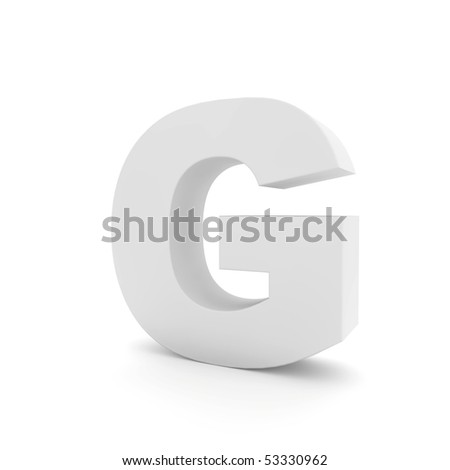 white letter G isolated on white - stock photo
