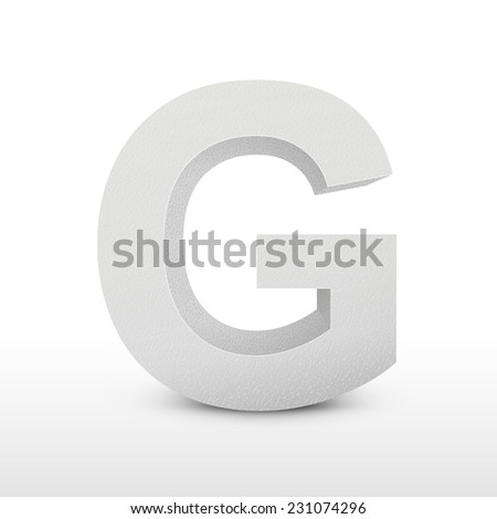 white letter G isolated on white background