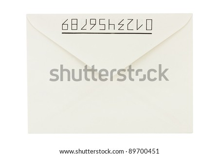 White letter isolated on white background