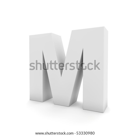 white letter m isolated on white - stock photo