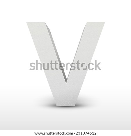 white letter V isolated on white background