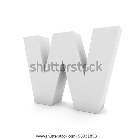 white letter W isolated on white