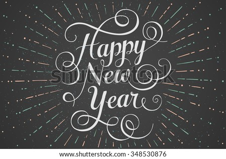 White lettering Happy New Year for greeting card on chalk board background. Illustration - stock photo