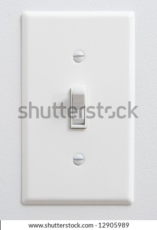 "White light switch in ""ON"" position - stock photo"