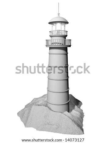 WHITE LIGHTHOUSE ISOLATED - stock photo