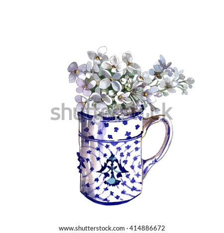 white lilac in ceramic cup watercolor