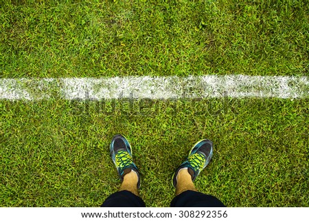 white line on the football field