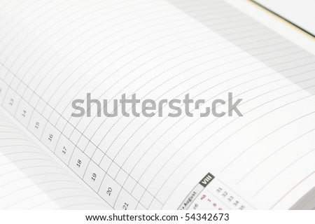 White lined diary page with black numbers